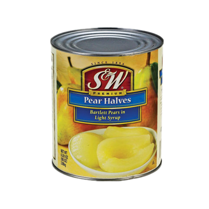 canned pear half in light syrup